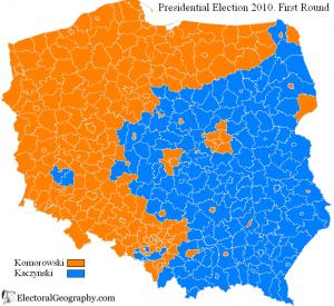 Es un mapa electoral. Obsérvese la similitud con las viejas fronteras